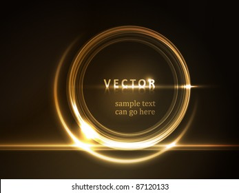 Golden light effects on round placeholder for your text on dark brown background.