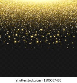 Golden light flash with falling down golden dust. Isolated on the transparent dark background. Vector.