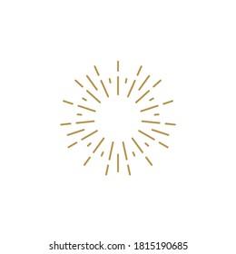 Golden light rays frame. Shine burst background. radiant spark. Vector illustration. Sun beam ray sunburst background.