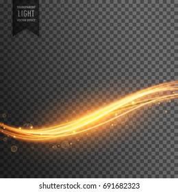 golden light streak transparent effect background