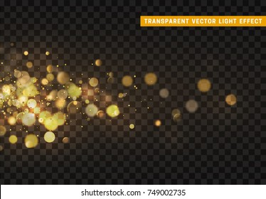 Golden lights background of bright glow bokeh.