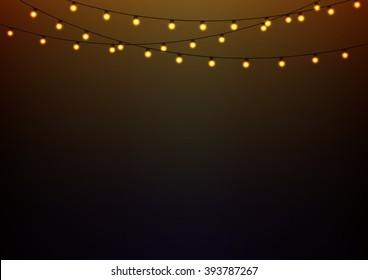 Golden lights on strings, landscape oriented background