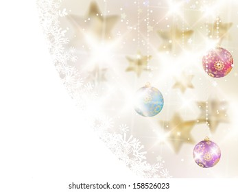 Golden Lights and Stars Christmas Background. EPS10