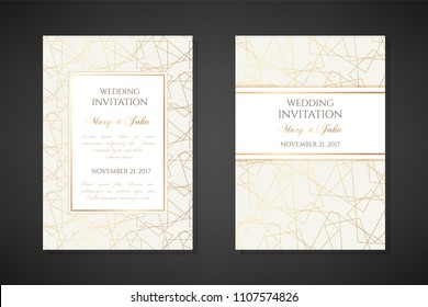 Golden line art textured illustration. Wedding invitation templates. Cover design with ornaments. Vector decorative backgrounds with copy space.