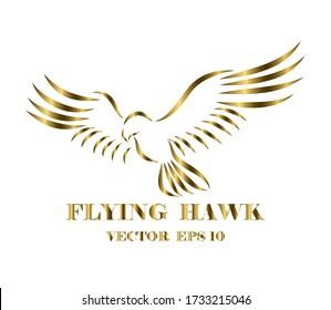 Golden line art vector logo of hawk that is flying.