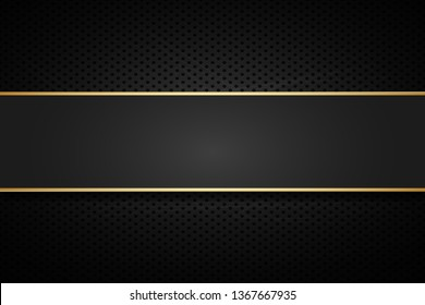 Golden line banner . Gold dark vector  background .