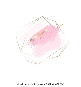 Golden line crystal with rose, pink and golden brush strokes on a white background. Icon. Vector design template for card, cover, poster, logo.