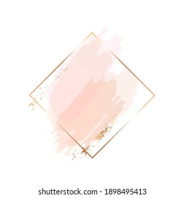 Golden line geometric frame with rose, nude and golden brush strokes on a white background. Icon. Vector design template for card, cover, poster, logo.
