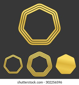 Golden line heptagon logo design set