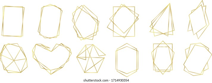 GOLDEN LINE POLYGON. COLLECTION OF FRAME. GRAPHIC ELEMENTS