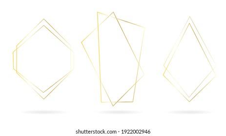 Golden Line Polygon Frame set vector isolated on white background , Vector illustration EPS 10