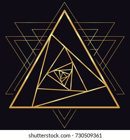 Golden line sketch tattoo rose flower petals mandala, the swirl in the triangle. Logotype, logo, trade mark, 3d pyramid. Vector image, geometric symbol of the fire triangle on a dark background.