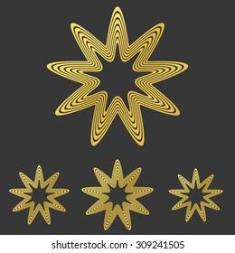 Golden line star logo design set