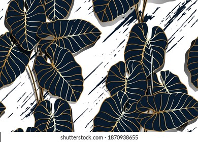 Golden Line Taro Leaves Seamless Pattern With Brush Background