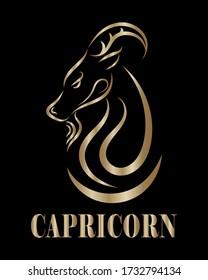Golden line vector logo of goat head. It is sign of capricorn zodiac.
