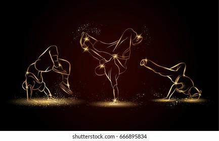 Golden linear b-boys dancers set on dark background. Hip hop dance background for poster and flyer.