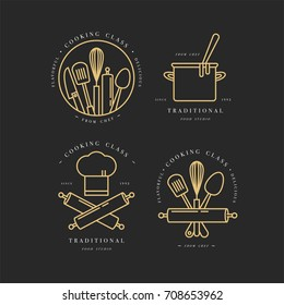 Golden linear design elements, set of kitchen emblems, symbols, icons or food studio labels and badges collection. Cooking courses signs template or logo, identity, culinary school.
