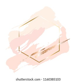 Golden linear honeycomb and peach, nude, gold brush strokes on a white background.