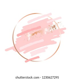 Golden linear round frame and pink peach gold brush strokes on a white background.
