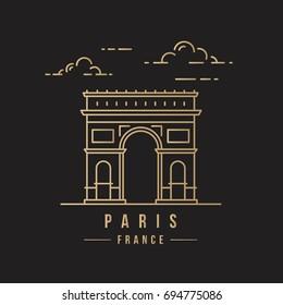 Golden line-art landmark icon of the Arc de Triomphe in Paris, France