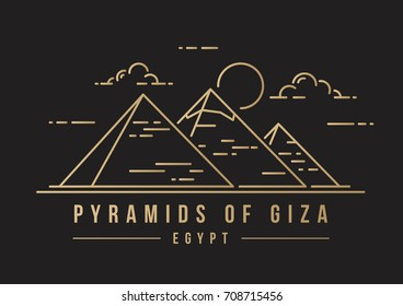 Golden line-art landmark icon of the Great Pyramids in Giza, Egypt