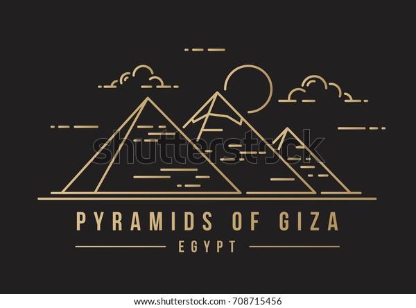 Золотая линей-арт знаковая икона великих пирамид в Гизе, Египет