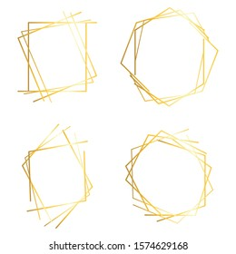 Golden lines frame. Abstract frame. Vector image.