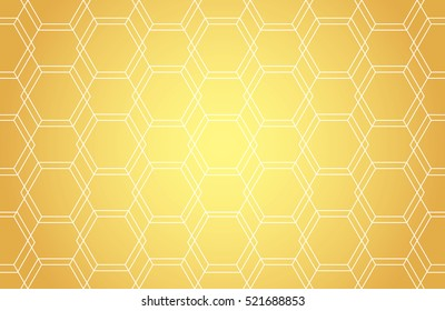 Golden lines, hexagons, rhombs and nodes seamless pattern. Geometric abstract repeating texture with intersecting hexagonal shapes. Gold colored background. Vector eps8 illustration.
