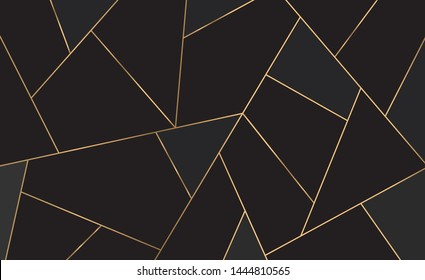 Golden lines pattern background. Mosaic gold and black texture. Luxury style. vector illustration.