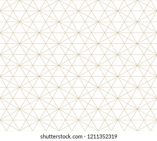 Golden lines pattern. Vector geometric seamless texture with delicate grid, thin diagonal lines, hexagons, triangles. Abstract white and gold graphic background. Subtle repeat ornament. Premium design