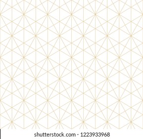 Golden lines pattern. Vector geometric seamless texture with delicate grid, thin lines, hexagons, triangles. Abstract white and gold graphic background. Art deco style ornament. Subtle repeat design