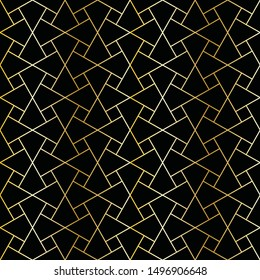 golden lines and squares in geometric seamless pattern over black background. for fabric, textile, backgrounds and wallpapers. the tile is seamless