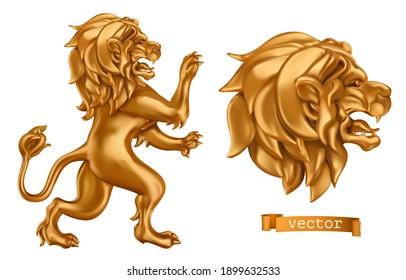 Golden Lion. 3d vector realistic icon