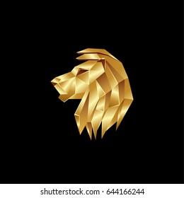 Golden lion head. Polygon style lion logo on a black background.