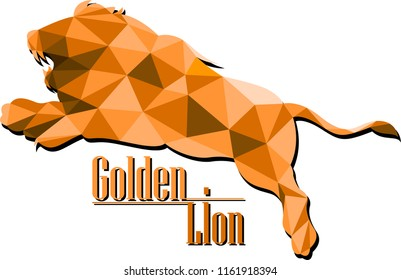 Golden Lion Logo Concept on Low Poly Geometric vector style