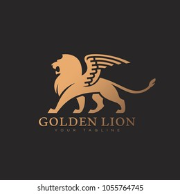 Golden lion with wings logo template design on a dark background. Vector illustration.