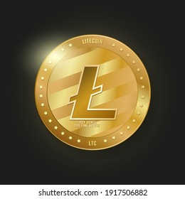 Golden litecoin. Cryptocurrency vector illustration. Realistic coin with glow on black background. Cryptocurrency LTC. Digital currency illustration.