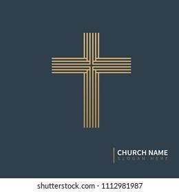 golden logo for cross shaped church