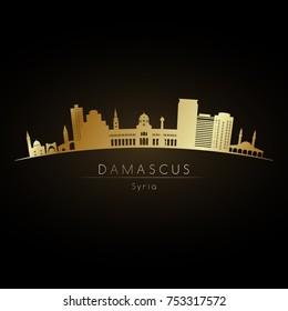 Golden logo Damascus skyline. Vector silhouette illustration.