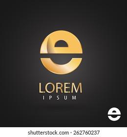 Golden logo design, letter e. Creative metallic vector icon. Trendy business elements.