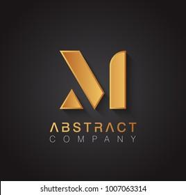 Golden logotype with elegant design forming the letter M. Premium logo design on dark background. Luxury emblem for your brand.