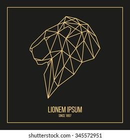 Golden logotype lion head geometric lines side view silhouette  isolated on black background vintage vector design element illustration