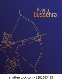 Golden Lord Rama with arrow. Happy Dussehra