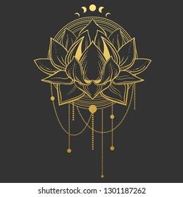 Golden lotus flower on black background. Vector hand drawn illustration