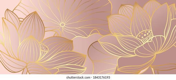 Golden lotus line arts on dark background, Luxury gold wallpaper design for prints, banner, fabric, poster, cover, digital arts vector illustration.