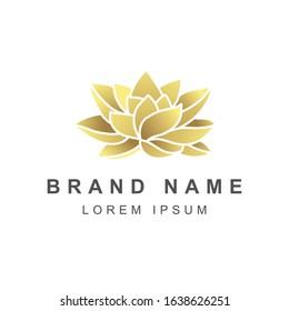 Golden lotus, rose, gardenia flower vector. flower logo.