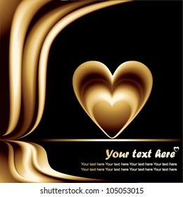 golden love heart on a black background - vector illustration