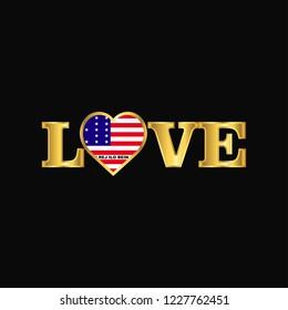 Golden Love typography Bikini Atoll flag design vector