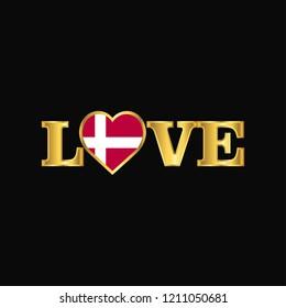 Golden Love typography Denmark flag design vector