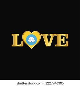 Golden Love typography Kalmykia flag design vector